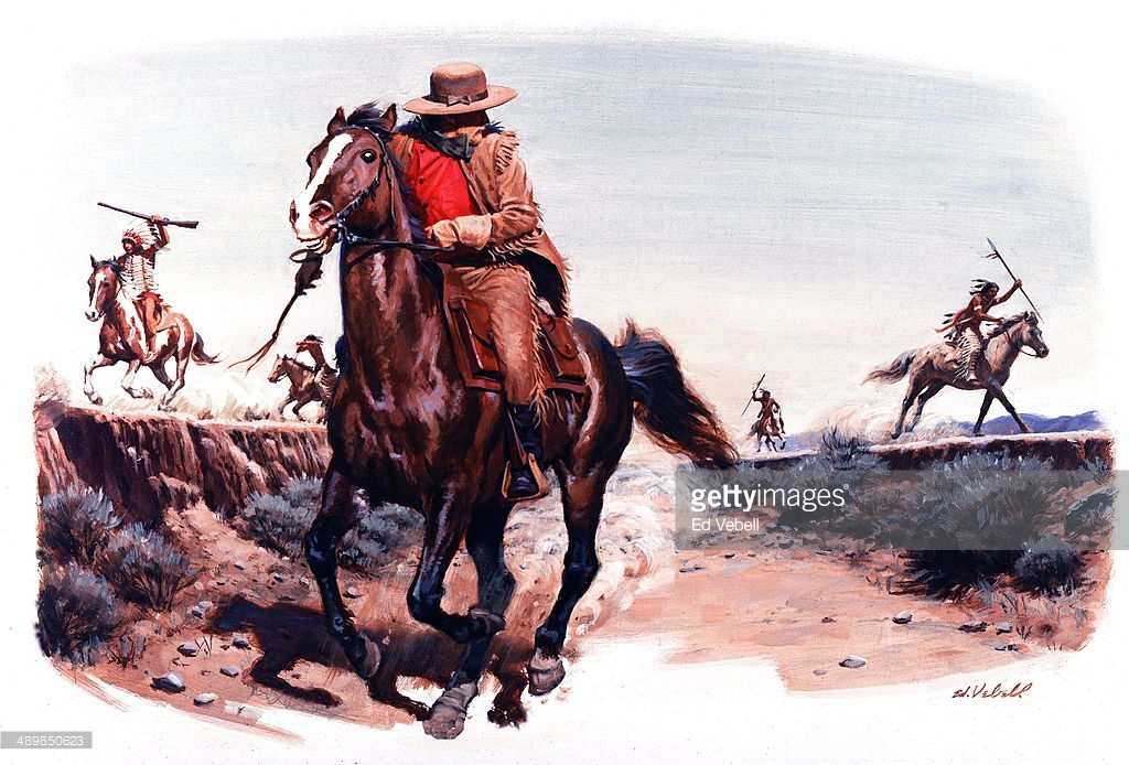 painting-depicting-a-pony-express-rider-being-chased-by-hostile-picture-id489850623