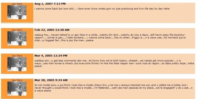 Jay Park's myspace comments