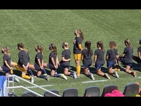 female soccer player standing